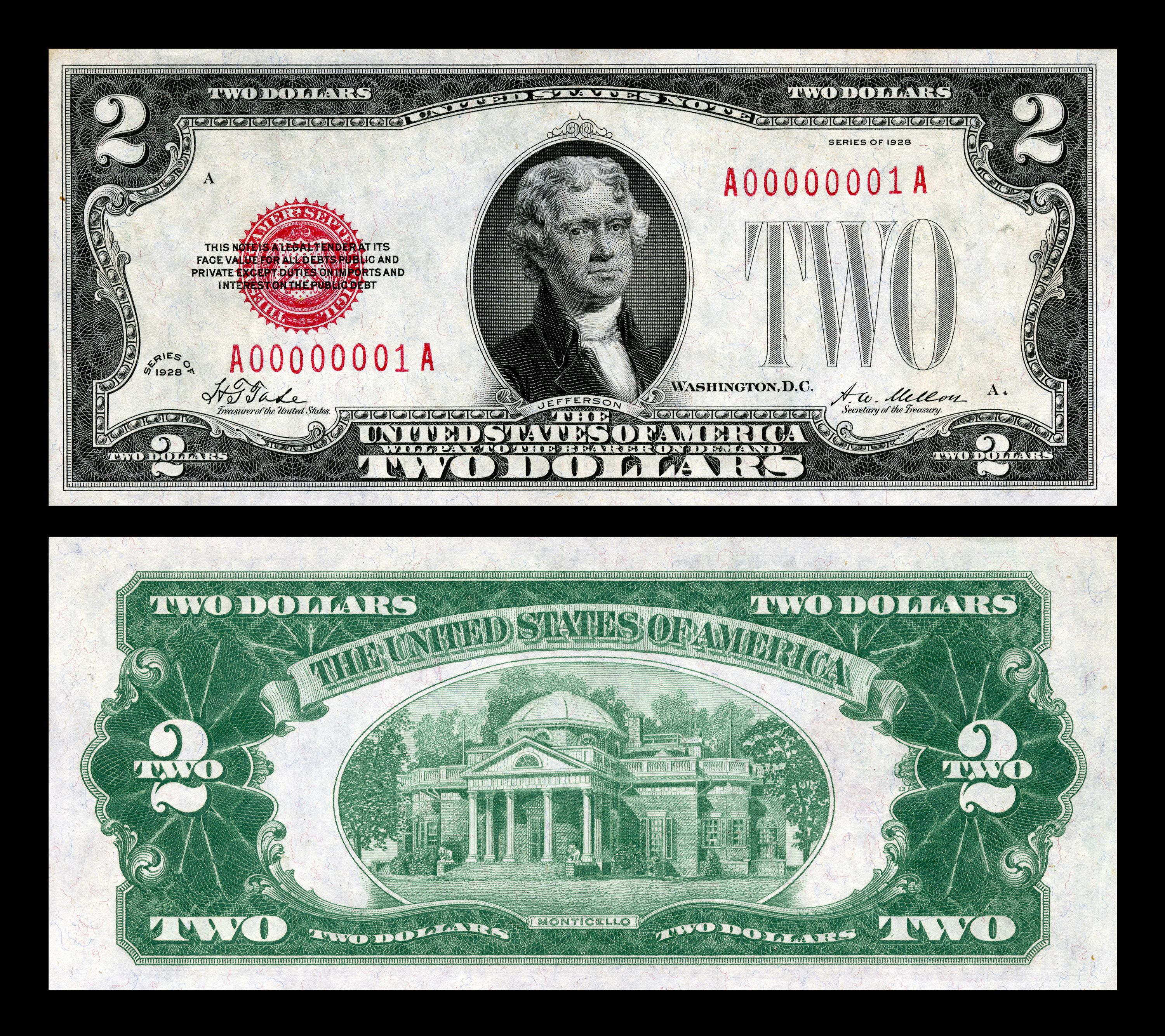 United States Note Money Postage Stamps Two Dollars 2 Dollar Bill