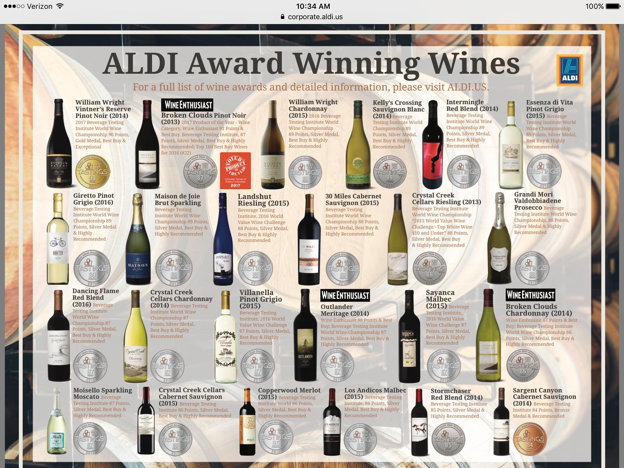 Aldi Award Winning Wines Award Winning Wine Aldi Aldi Wine