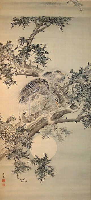 Antique Japanese Scroll, Egrets & Moon by Suzui Keisho