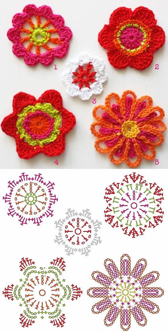 Crochet 5 flowers (pattern). By Handwerkjuffie. | Flores de crochet ...