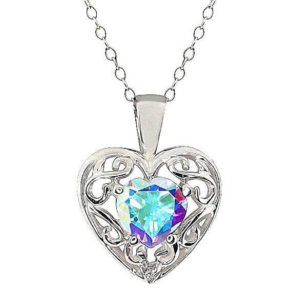 1 Carat Genuine Mystic Topaz /& Diamond Heart Pendant .925 Sterling Silver