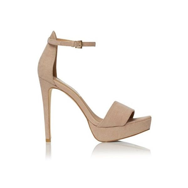 Shona Nude Suede Ankle Strap Heels by Billini ($69) ❤ liked on Polyvore  featuring