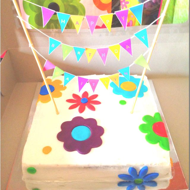 Funky Flower Birthday Banner Cake By Genie Lafayette La Girl
