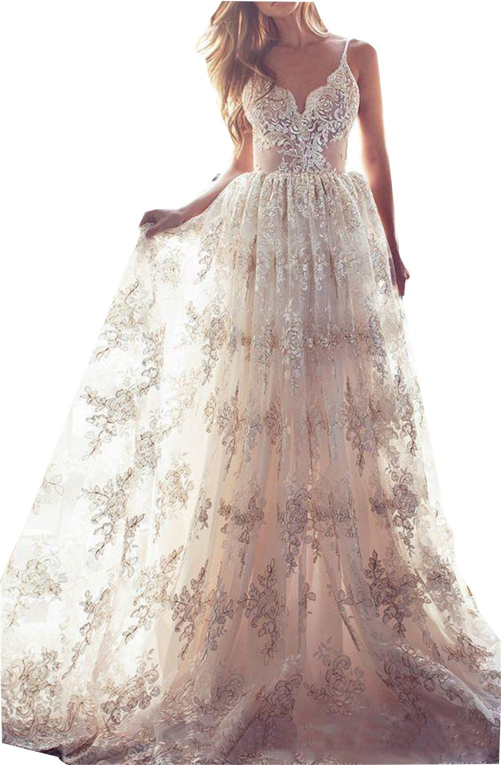 478be431d1 Ellystar Womens New ALine Lace Sleeveless Backless V Neck Wedding Dresses  Champagne US8   More info