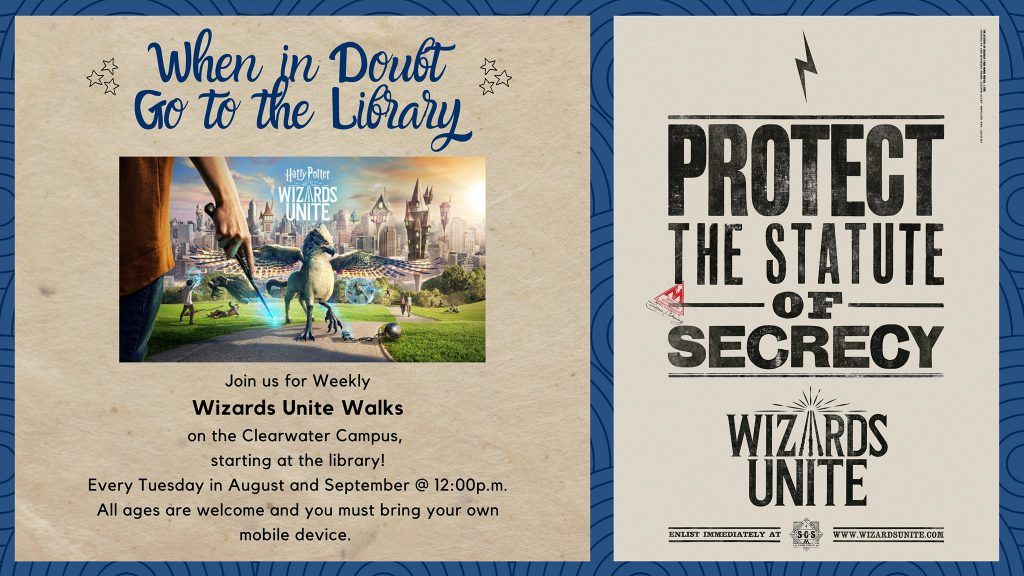 Harry Potter Wizards Unite Walks To Be Held At Spcclearwater On Tuesdays In August And September Learning Resources Clear Water Hold On
