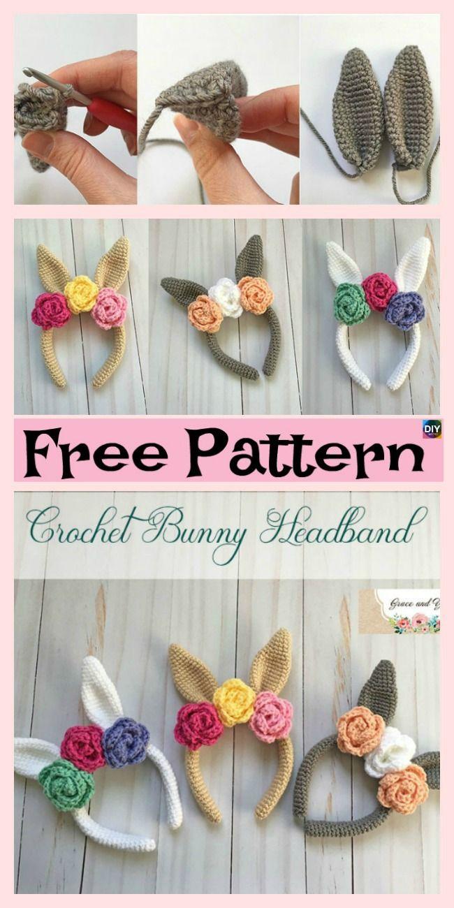 Beautiful Crochet Bunny Headband - Free Pattern | diademas ...