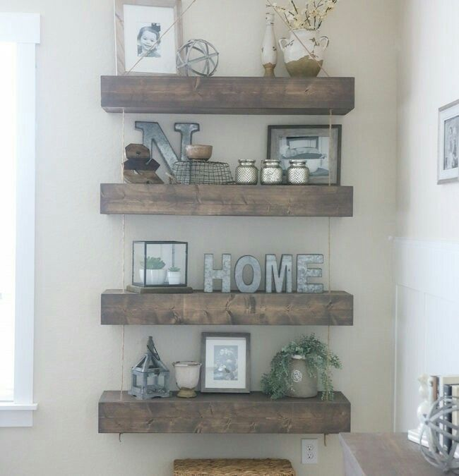 Incroyable Decor DIY Inspiration: DIY Rope And Pulley Floating Shelves.