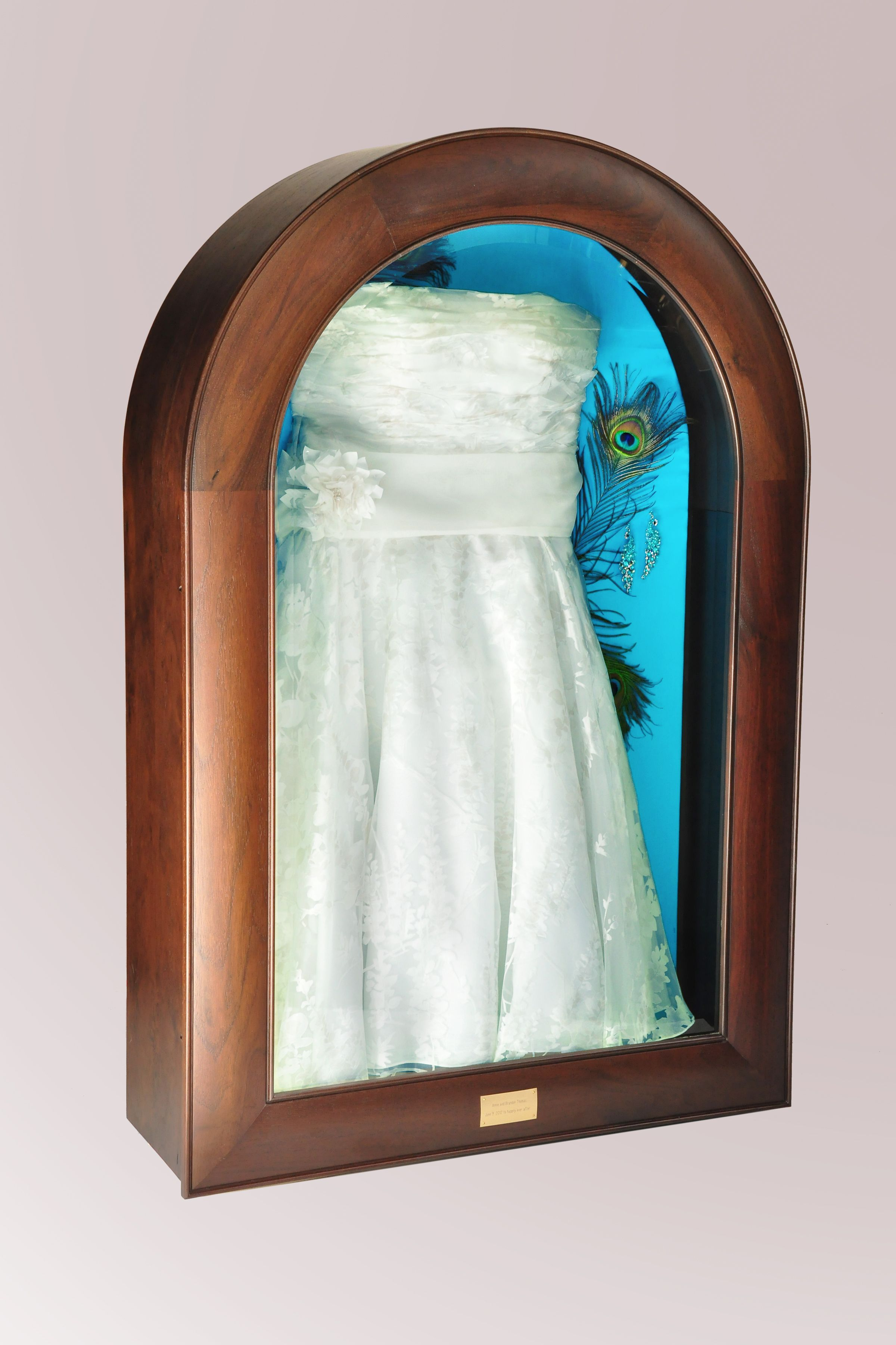 Design and construct lighted shadow boxes to display wedding dresses ...