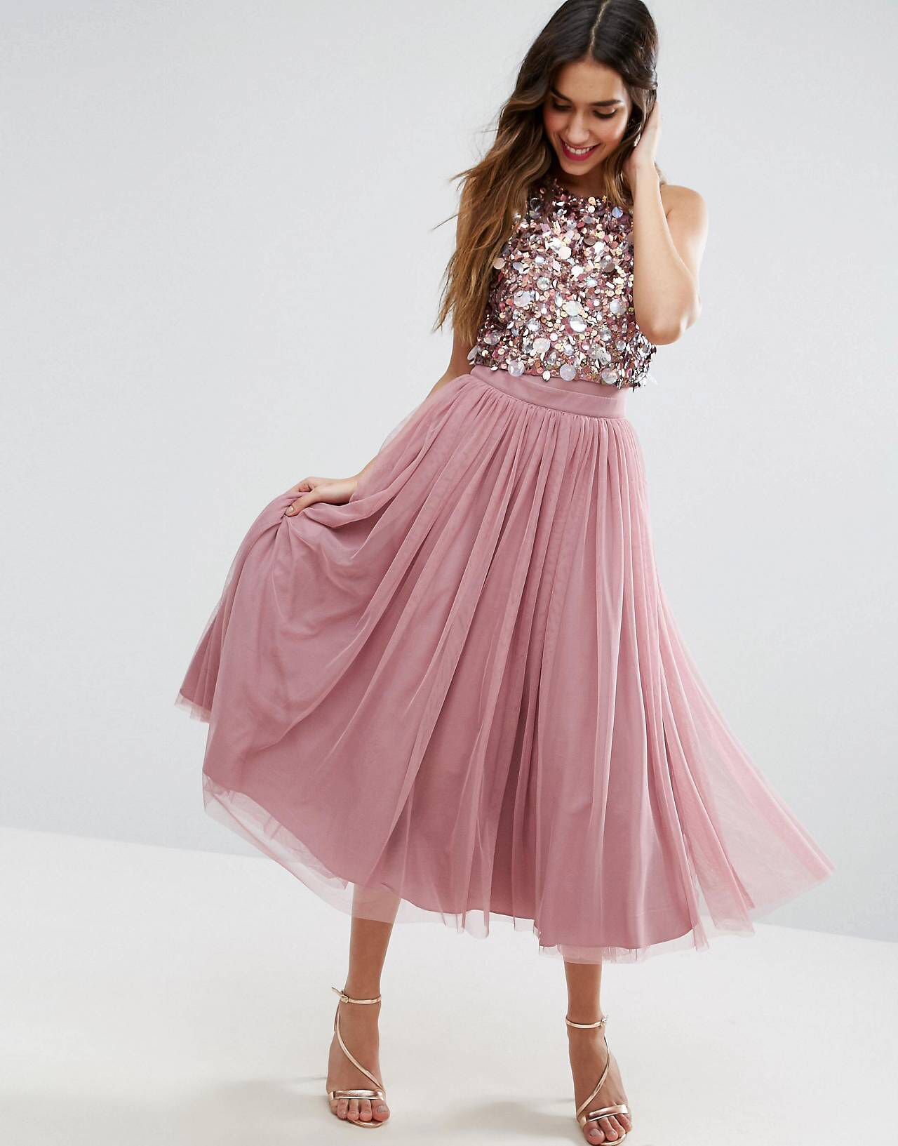 Cluster Embellished Mesh Crop Top Midi Dress | Falda de tul adulto ...