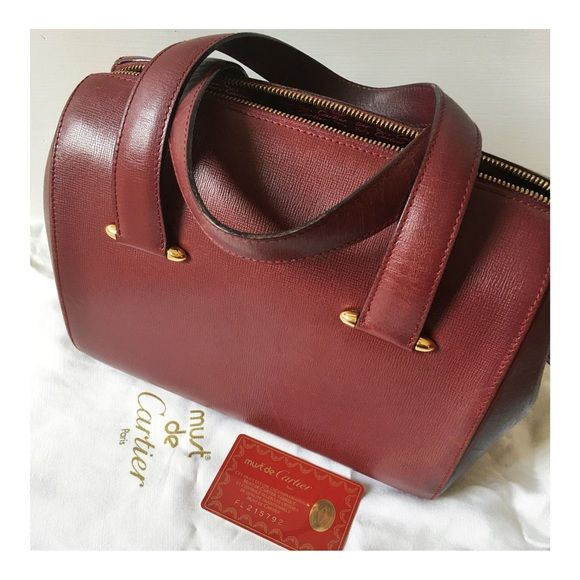 Lowest Price Reduced Authentic Pre Loved Deep Burgundy Bordeaux Top Handle Leather Bag W Gold Hardware Tonal Satin Lining Cartier Signature