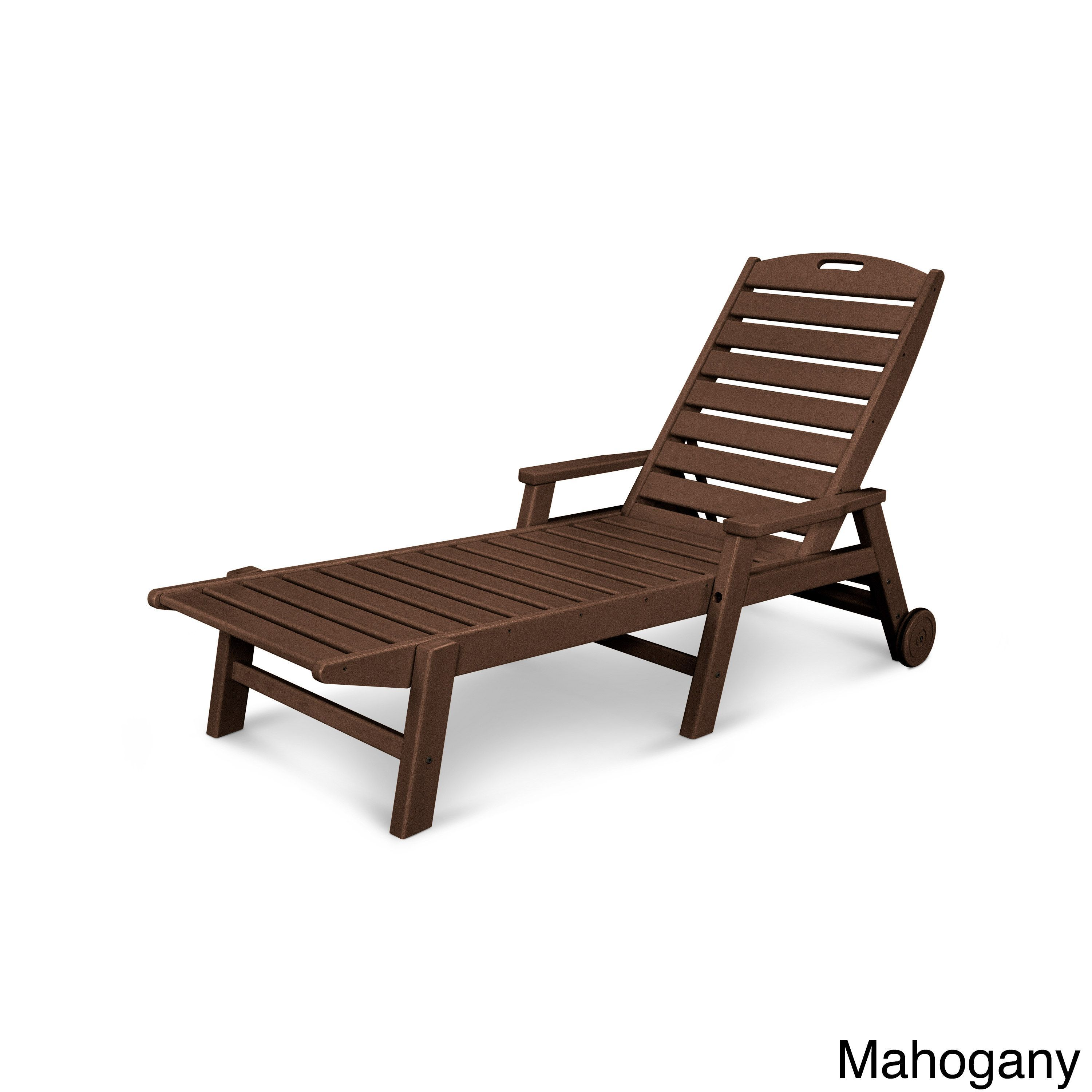 Polywood nautical high density polypropylene stackable wheeled chaise with arms black patio furniture plastic