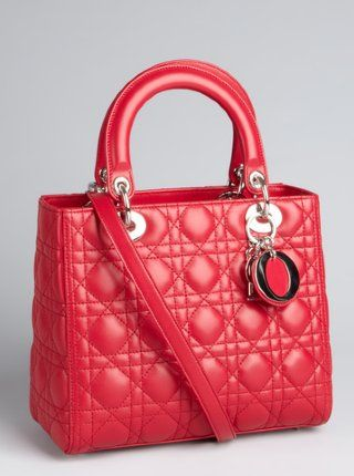 8590007f2b4c Christian Dior  red cannage quilted lambskin  Lady Dior  medium top handle  bag