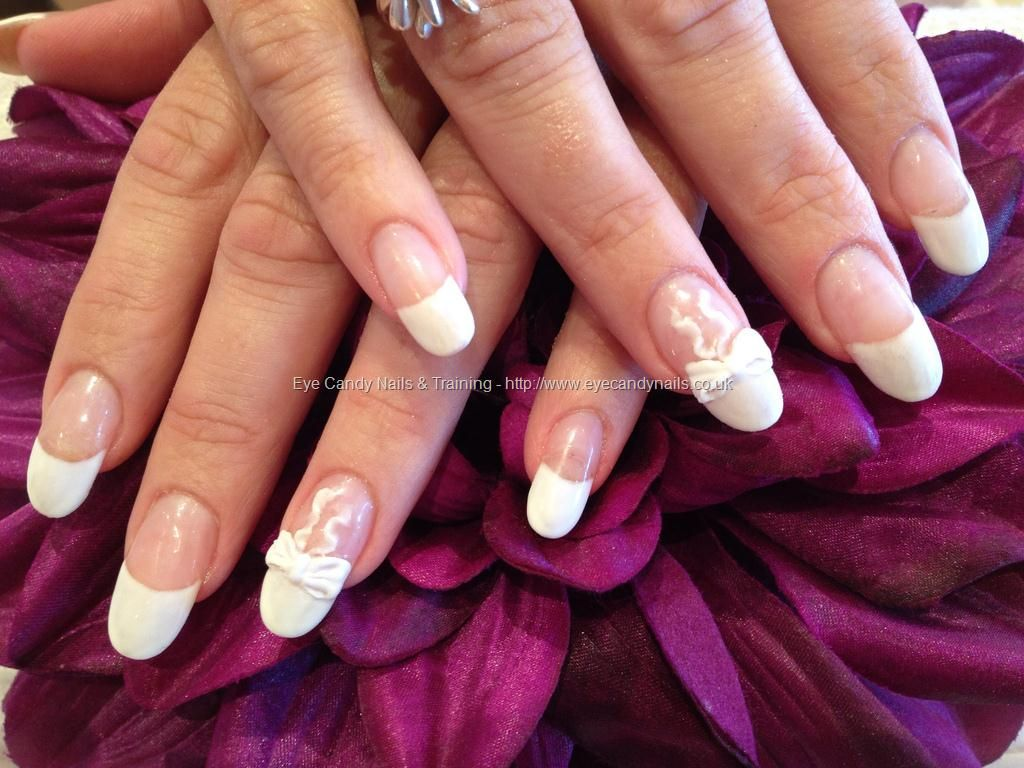 White French with 3D acrylic bows | Finger Paint + Toes | Pinterest ...