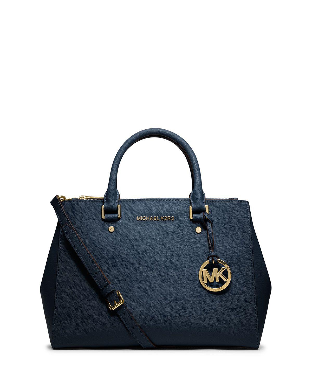 Sutton Medium Satchel Bag, Navy - MICHAEL Michael Kors