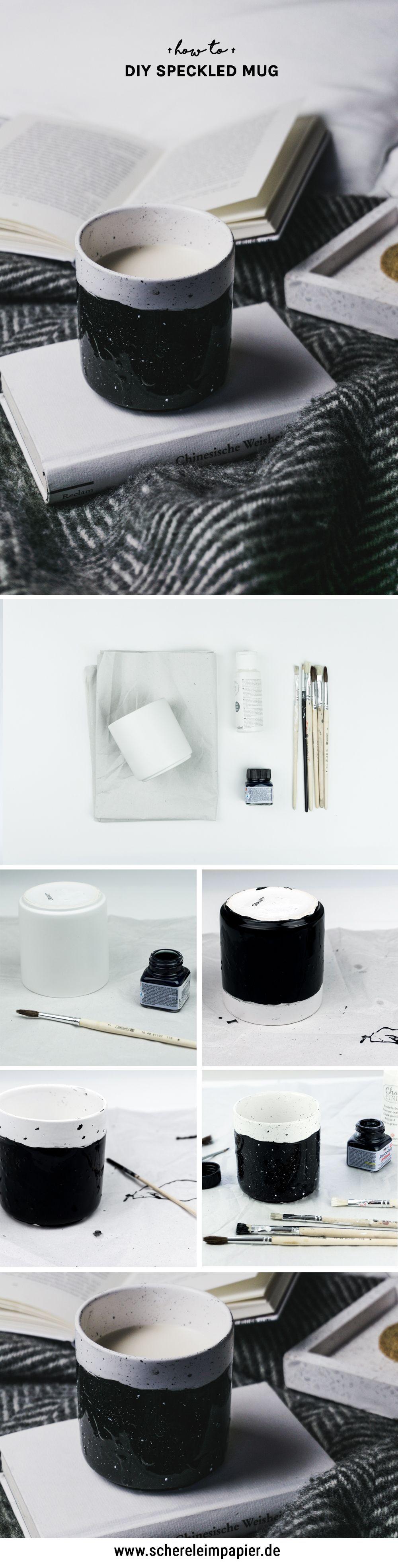 Keramik Bemalen Diy B W Speckled Cup Design Schereleimpapier Diy Keramik Bemalen Diy Design Tassen Design