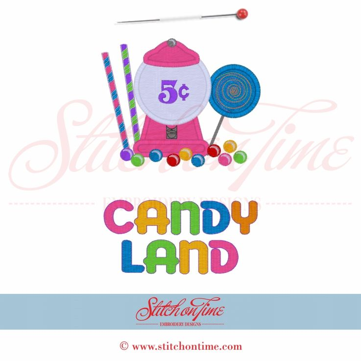 Machine Embroidery Design Candy Land Gumball Machine