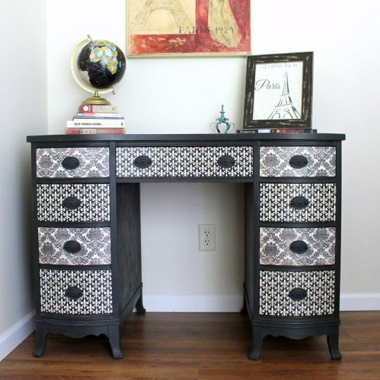 Think decoupage is old fashioned?  Think again!  See how a vintage desk was transformed with paint and decoupage.