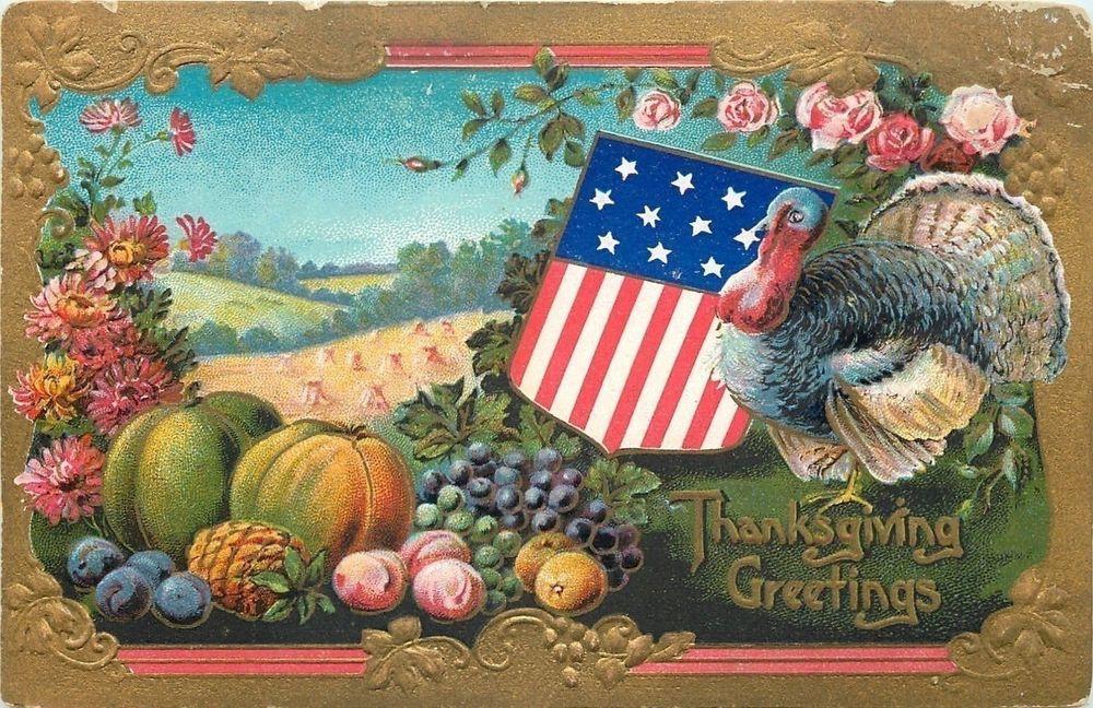Patriotic ThanksgivingTurkey With Fruit HarvestWheat FieldOrnate Gold Border Vintage ThanksgivingThanksgiving