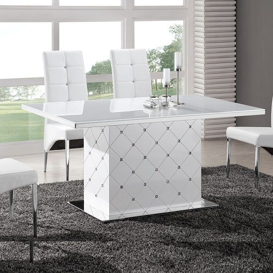 Levono Glass High Gloss Dining Table In White With Rhinestone - White high gloss dining table