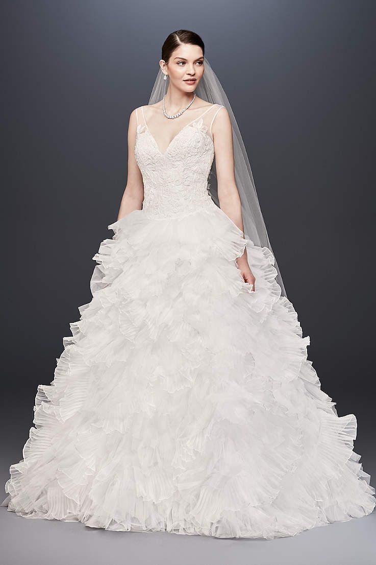 View plunging vneck wedding gown with tiered skirt swg mtryss