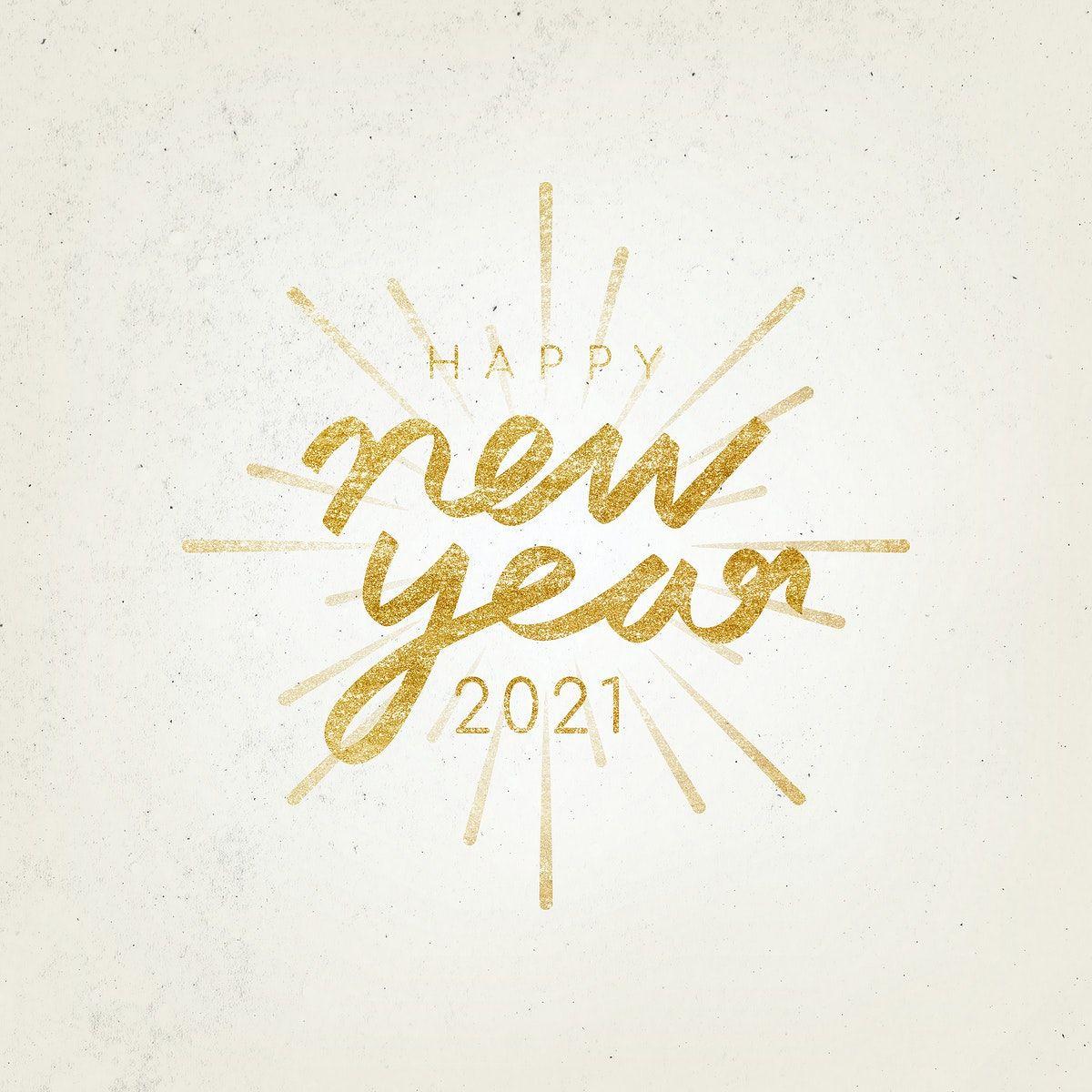 Happy New Year 2021 typography illustration free image