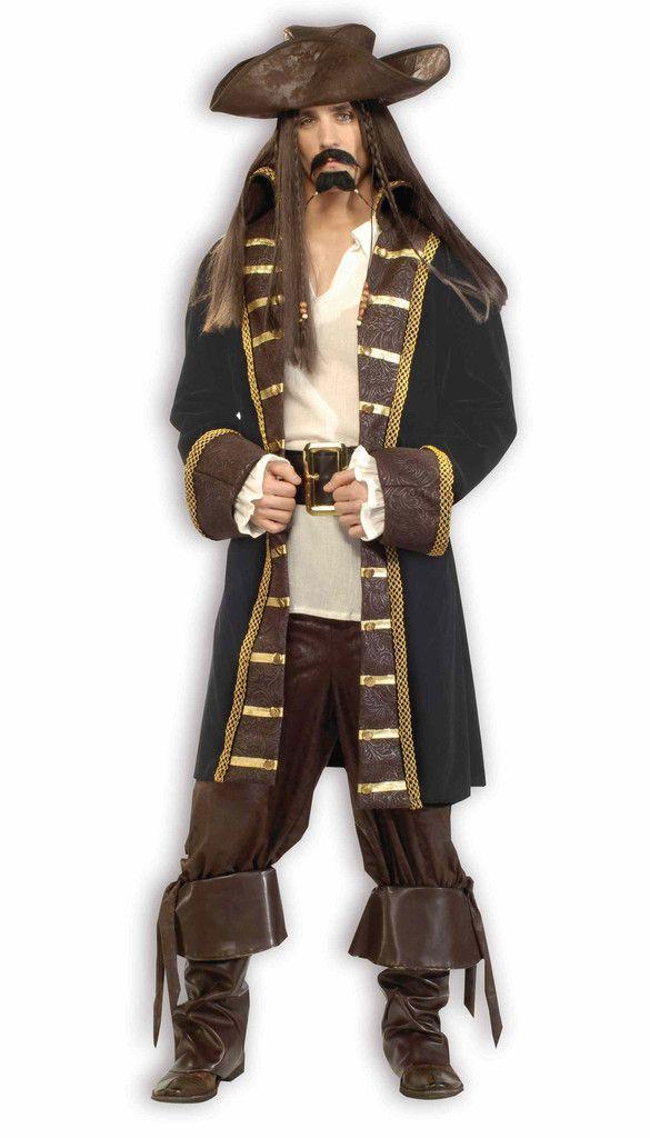 Adult Mens High Seas Buccaneer Pirate Caribbean Fancy Dress Costume S-XL