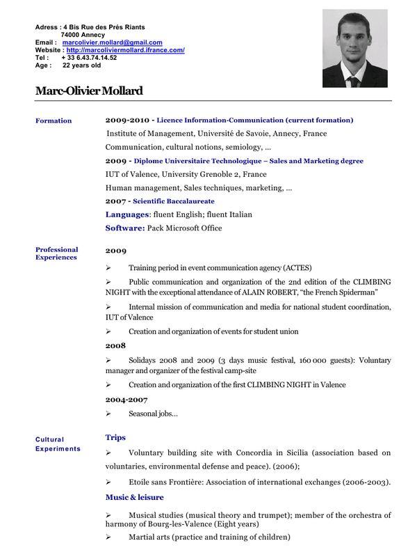 Resultat De Recherche D Images Pour Exemple Cv En Anglais Pdf Marketing Degree Sales And Marketing 22 Years Old