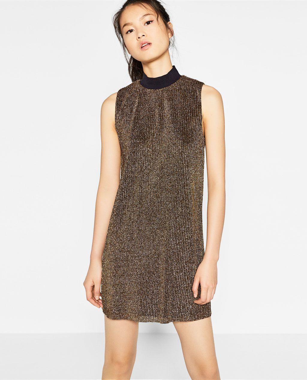 zara - woman - shiny pleated dress | ball dresses, dresses