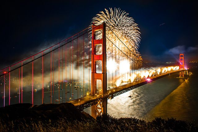 Great shot of the Golden Gate Bridge 75th Anniversary fireworks