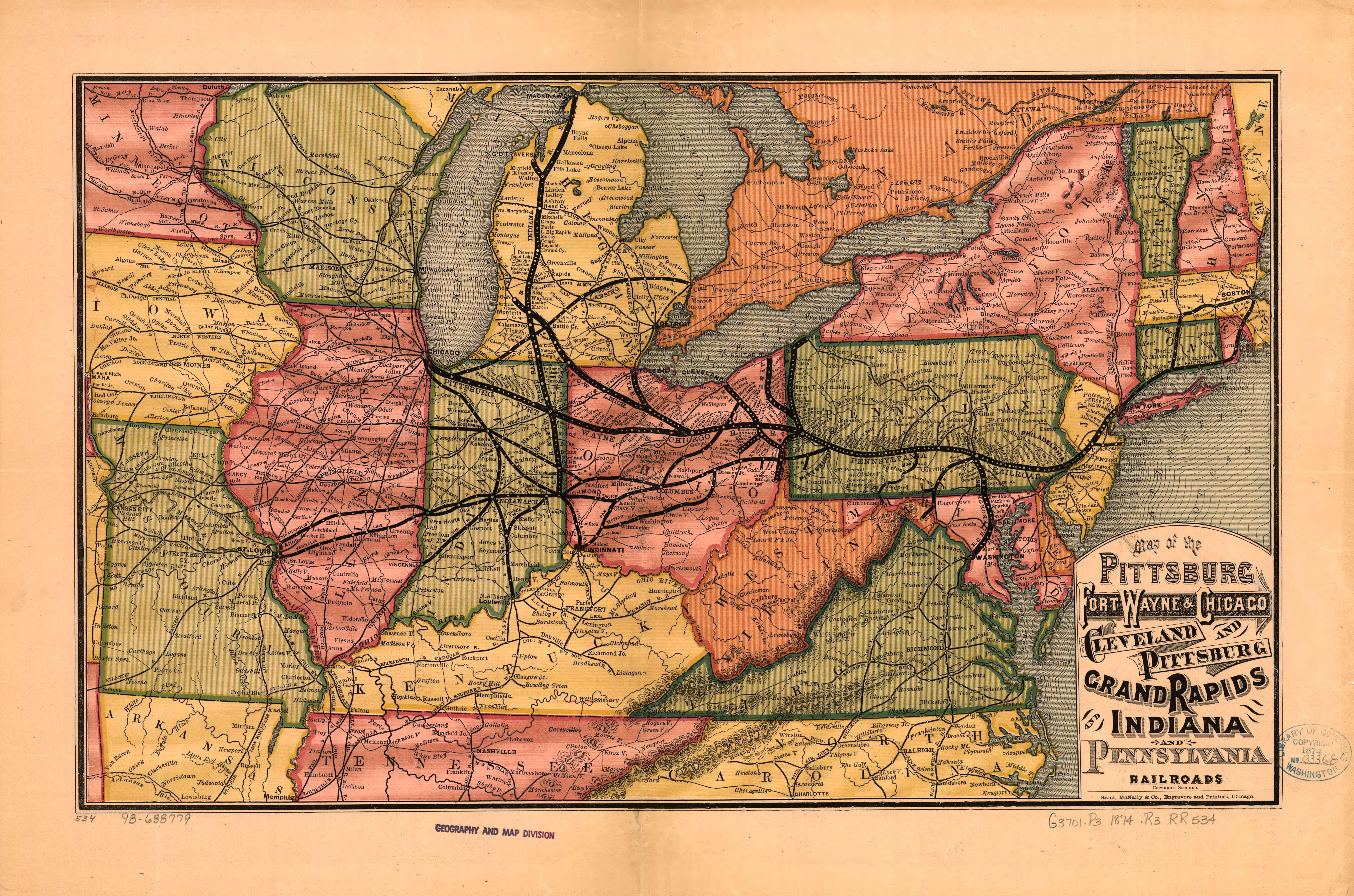 1874 map of the northeastern United States, showing the railroad ...