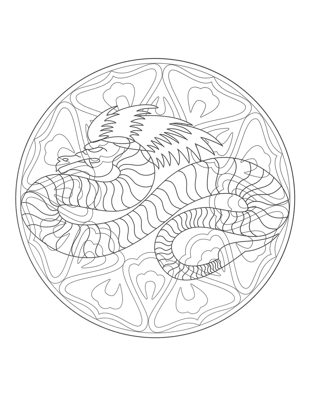 Free Mandalas To Print And Color Difficult Mandalas For Adults Mandala Dragon Coloriage Coloriage Mandala