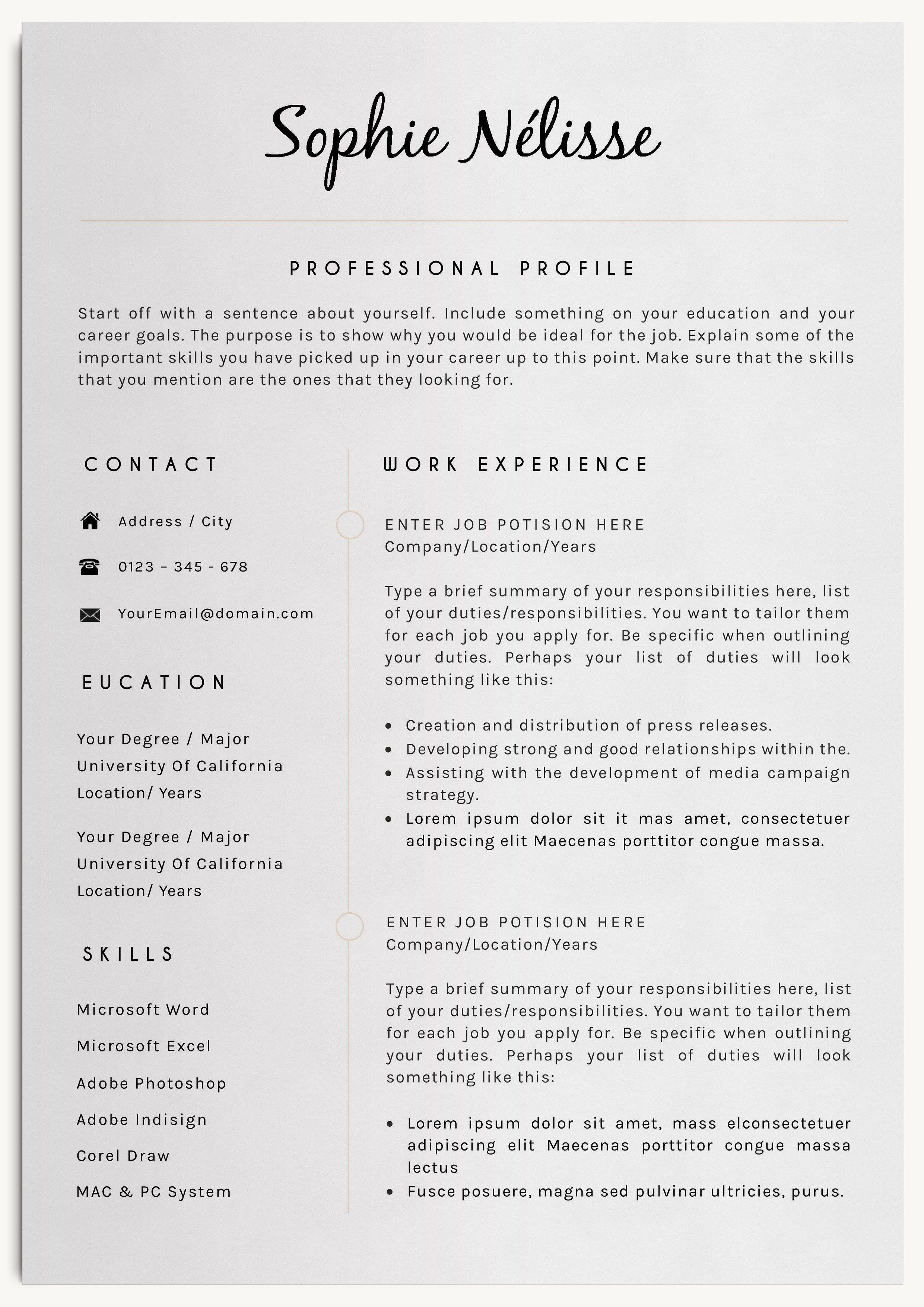 Professional Resume Template With Cover Letter And Reference Page