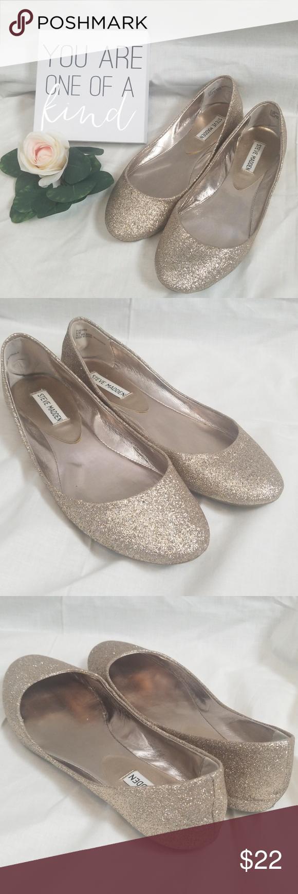 0dd3dc48867 P-Heaven Gold Glitter Ballet Flats Size 9.5M NEW Steve Madden P ...