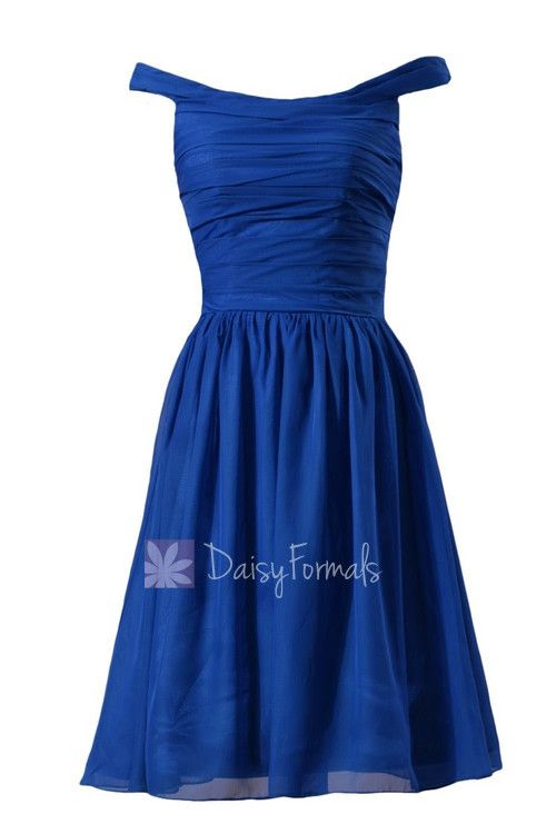 Sapphire Chiffon Bridesmaid Dress Knee Length Off Shoulder Formal  Dress(BM4080) 3cc465ea5
