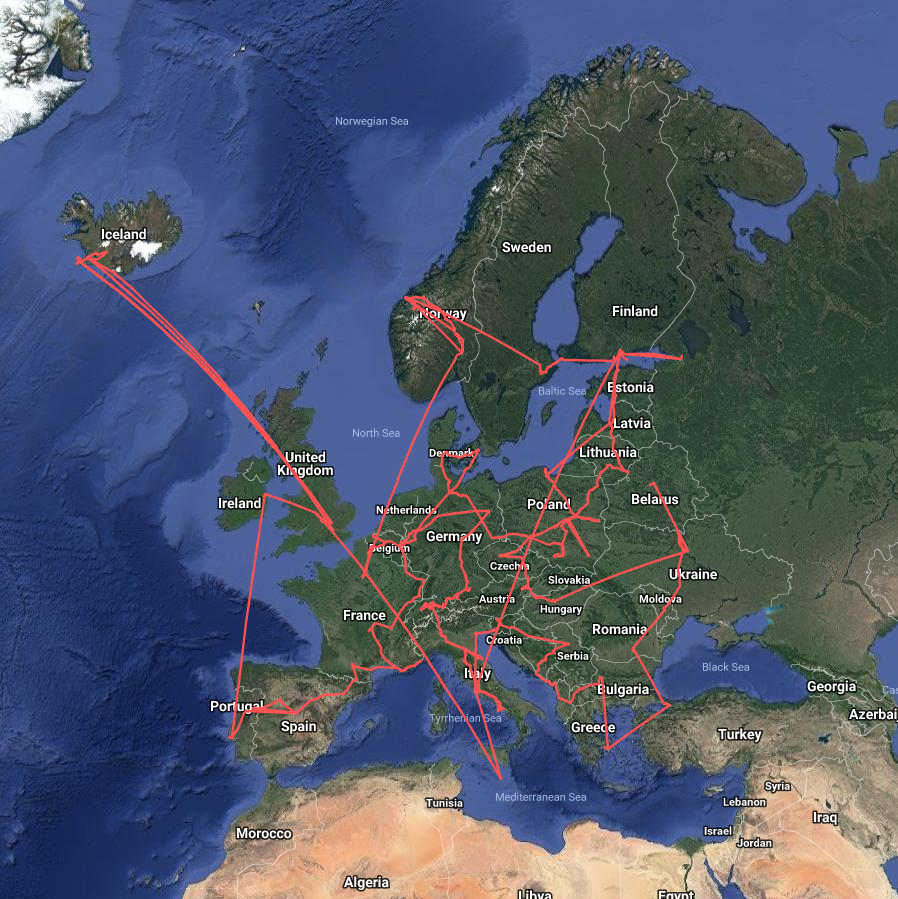 Map : 50000 km 164 days and 45 countries! My travels mapped ... Map My Travels on nc travel map, create your own travel map, my trip to greece - part 2, my trips, pa travel map, make a travel map, sd travel map, my trip to greece - part 1, travel map app on facebook, world travel map,