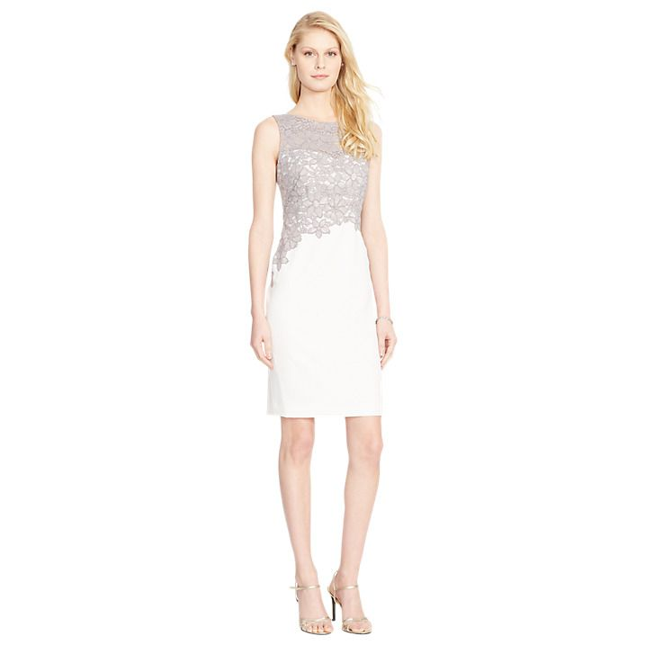 Buy Lauren Ralph Lauren Zinna Dress, Ivory/Zinc, 8 Online at ...