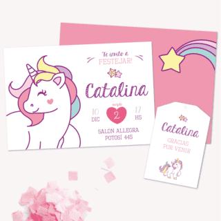 Invitación Tarjeta Gracias Unicornio Comprar Online