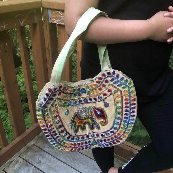 5d046cf77a07 Elephant Off White Multi Color Handmade Shoulder Bag Ethnic Indian Boho  Hippie Gypsy Festival Beach Handbag Unisex Gift