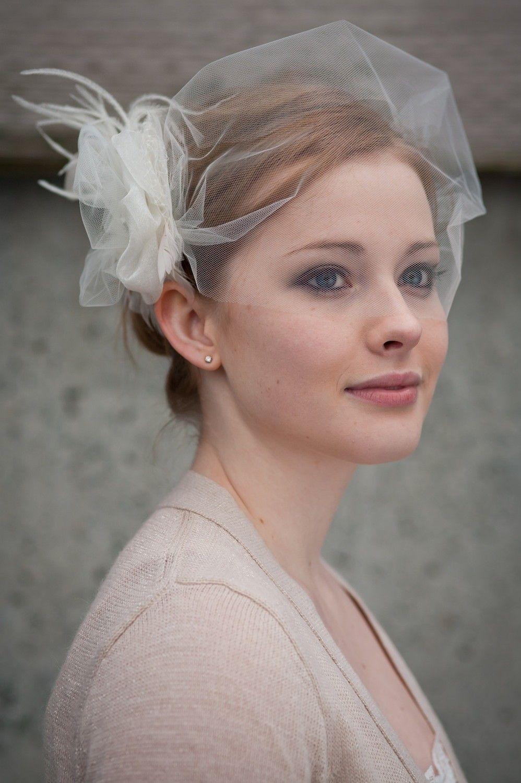 Bridal Headpiece, Flower Fascinator in tulle
