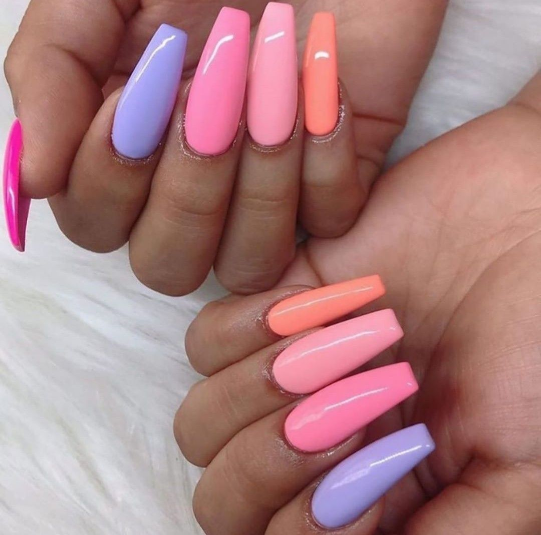 Orange Pink And Purple Nails Pretty Pastel Colors Best Acrylic Nails Vibrant Nails Summer Acrylic Nails