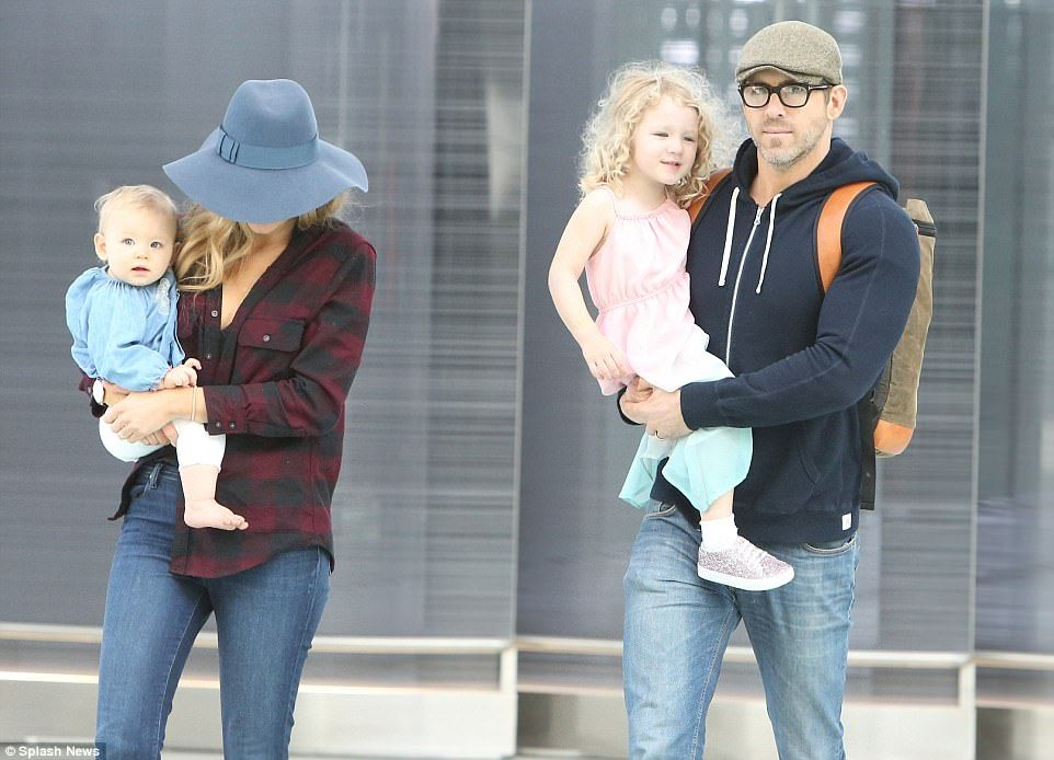 The Canadian action hero carried the couple's eldest daughter James, two, while the Gossip Girl beauty cradled their littlest one Ines, 11 months