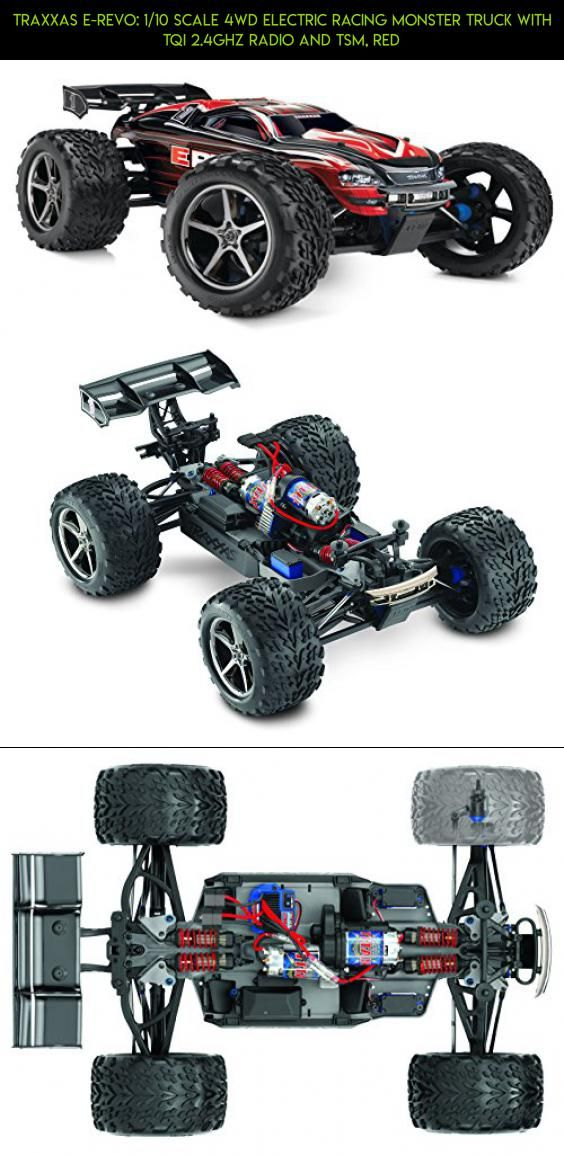 Traxxas E Revo 1 10 Scale 4wd Electric Racing Monster Truck With Tqi 2 4ghz Radio And Tsm Red Fpv Traxxas Revo Drone P Traxxas Radio Control Diy Rc Cars