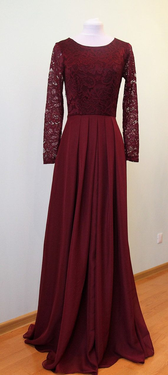 Long burgundy lace dress for bridesmaids Burgundy bridesmaid dress ...