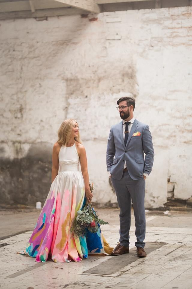 9 Painted Wedding Dress Masterpieces You Have To See Painted Wedding Dress Colored Wedding Dress Wedding Dresses