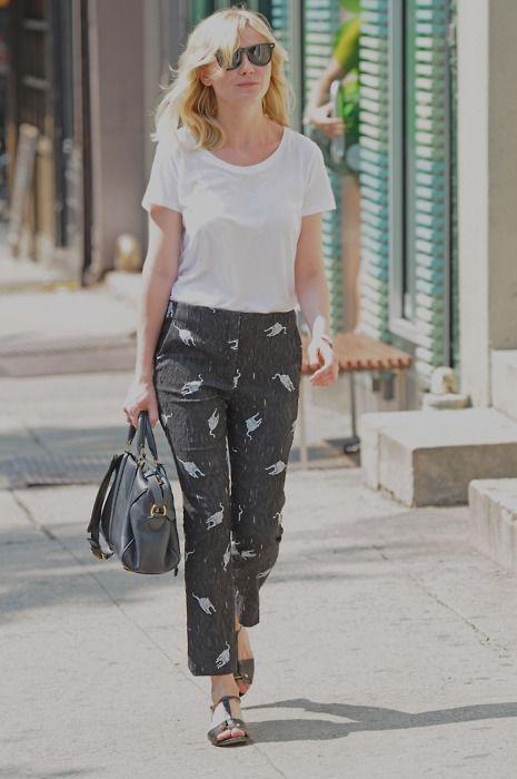 a601850b3d6 Kirsten Dunst in miu miu printed pants