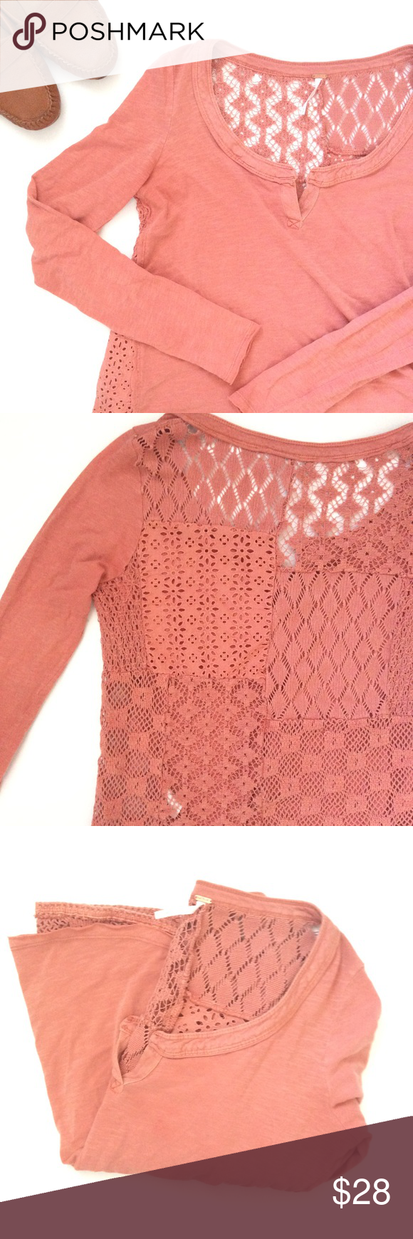 🆕{Listing} Free People Mixed Media Top Dusty rose long sleeved top by Free People. Beautiful lace patch work back. In really good condition. Pair with light wash flared jeans for a cool look. Free People Tops Tees - Long Sleeve