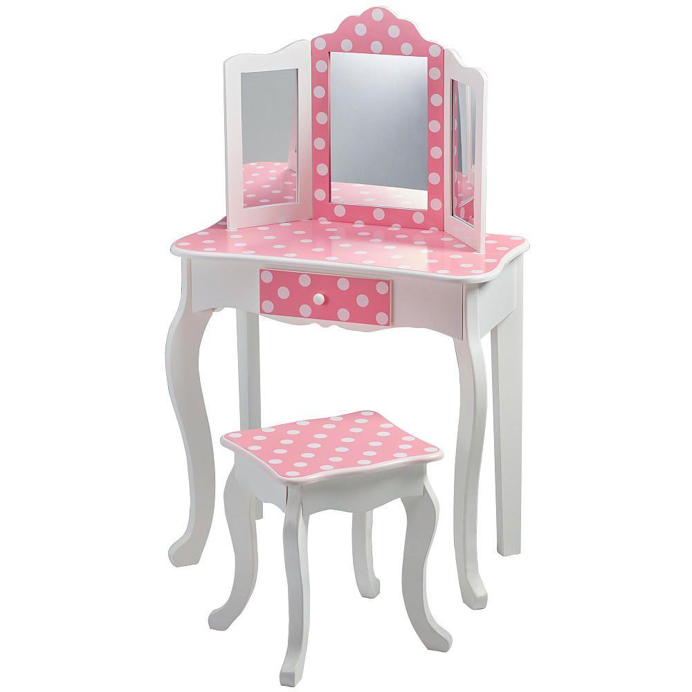 Teamson kids fashion prints polka dot vanity table stool set teamson kids fashion prints polka dot vanity table stool set geotapseo Images