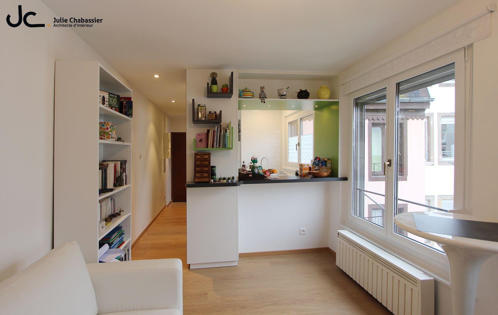 Julie Chabassier Architecte D Intérieur petite cuisine ouverte - cadre vert | architecte interieur