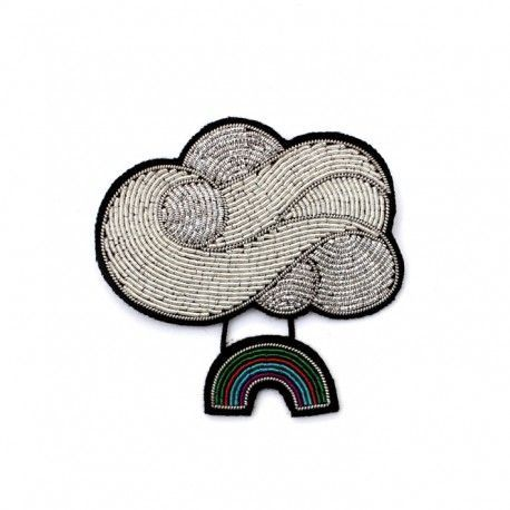 Hand Embroidered Rain Cloud Brooch Silvery Macon & Lesquoy 6QYEzjRq