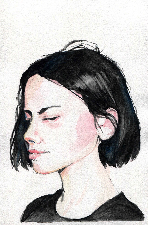 Short Dark Hair Portrait Watercolor Study 6 X 9 Https Www Etsy